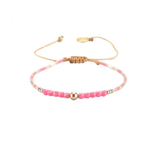 Adjustable slim pink / gold bracelet with faceted beads - LINY 2.0-BE-XS-7570