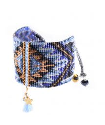 Blue/bronze cuff with beads and tassel - Macui BE 3351L