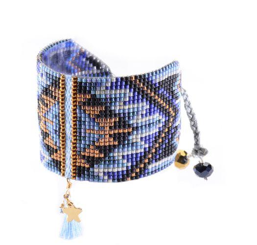 Широкий браслетизбисера синего/медно-красногоцвета, украшенный кисточкой - Macui BE 3351L