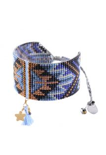 Handmade blue/bronze beaded cuff with tassel - Macui BE 3351M