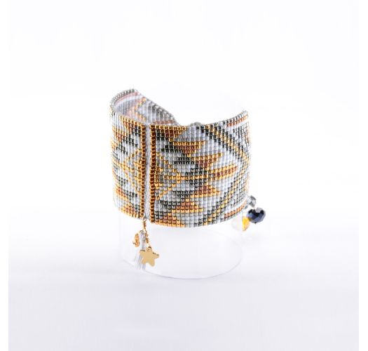 Cuff in lavender/copper-coloured beads and star - Macui BE 3352