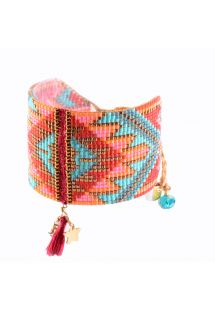 Pink/blue beaded cuff with woven sections and tassel MACUI BE 3353L