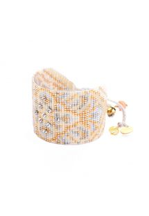 Cuff with golden beads and silvered studs - MANDALA BE 4144L