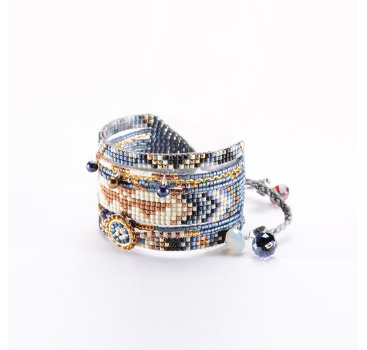 Blue metallic/copper-colour bead cuff MEDLY BE 3626