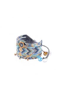 Oriental styled blue bead cuff - MEDLY BE 4106L