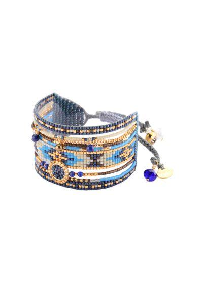 Manschett armband med blå pärlor och guldkedja MEDLY BE L 2940