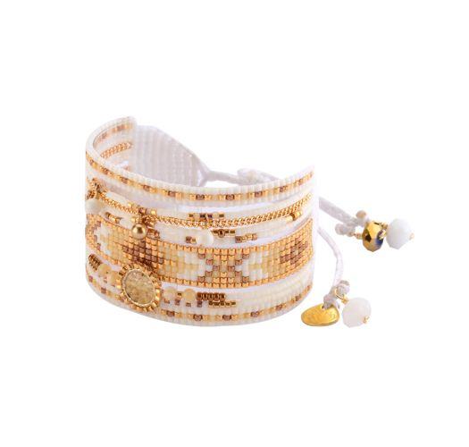 Bead cuff with gold-coloured chain MEDLY BE 2941
