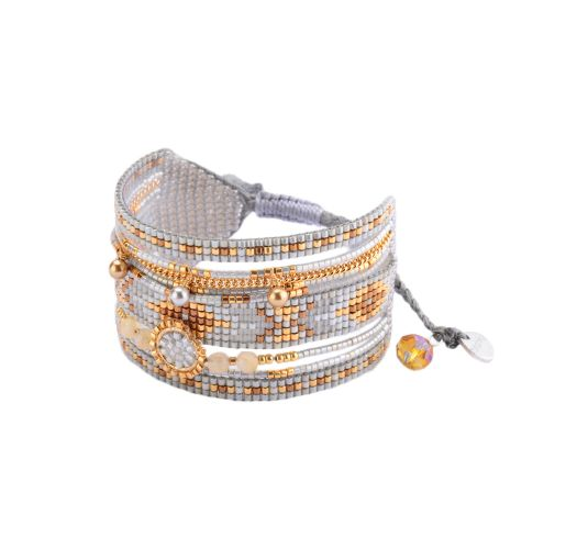 Grey bead and gold-coloured chain cuff MEDLY BE 2943
