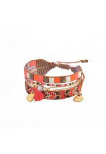 Orangearmbånd med perler og hjerte - MEDLY HEART-BE-S-7740