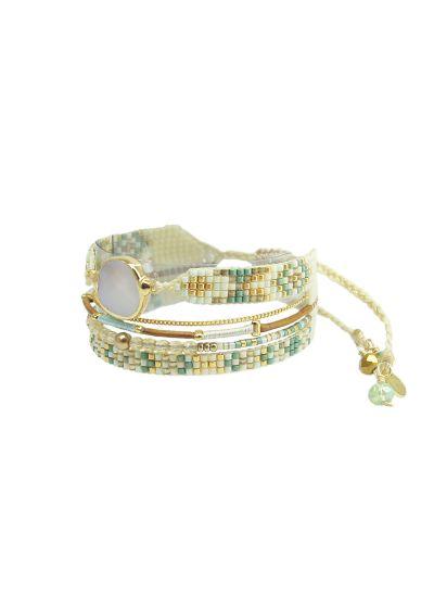 Ljusgrönt manschett-armband med flera länkar och sten - MEDLY STONE 2.0-BE-S-7835