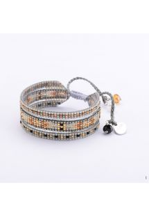Wide bracelet with beads and woven grey threads MELANGE BE 1837