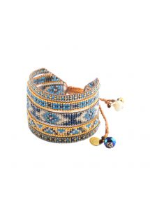 Ethnic cuff, blue/gold-coloured beads MELANGE BE 1856