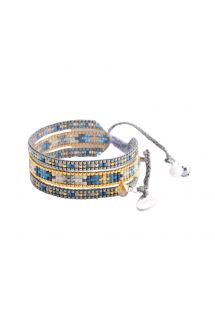 Braccialetto largo con perline color argento/oro/blu MELANGE BE 2118