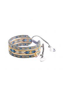 Wide bracelet with silver/gold/blue beads MELANGE BE 2118