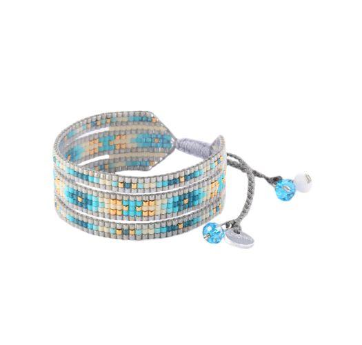 Pulsera ancha gris/azul con perlas MELANGE BE 2690