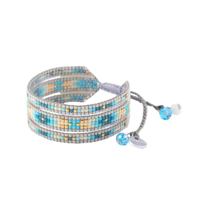Brett armband med grå / blå pärlor MELANGE BE M 2690