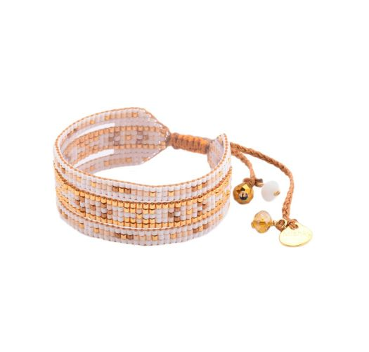 Wide bracelet with gold-coloured and white beads - Melange BE 2944