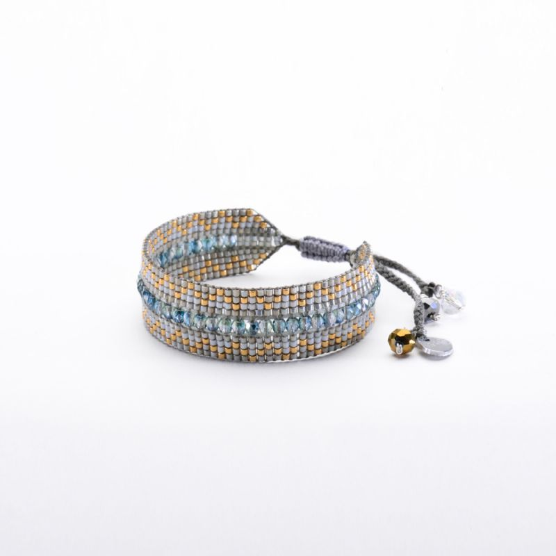 Grey/gold-colour bracelet with faceted beads METZI BE 3412
