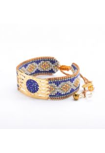 Blue/copper-colour bracelet with beads and decorative gold-coloured cutwork MISTY GP 3340