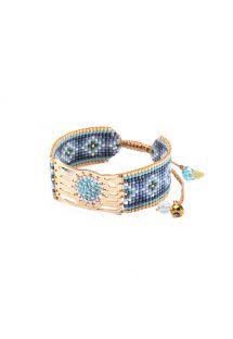 Blue bracelet with beads and golden openwork plaque - MISTY GP 4119