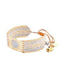Stylish bracelet in grey and gold-coloured beadwork - Misty GP 2197