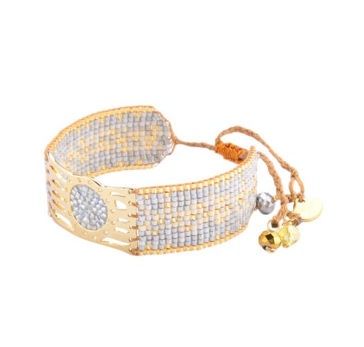 Stylish bracelet in grey and gold-coloured beadwork - Misty GP 2197