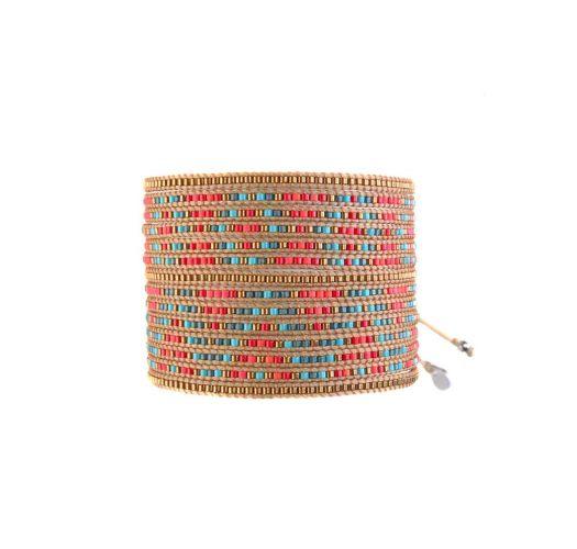 Bracelet MULTIROWS TURQUOISE AQUA RED