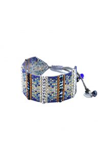 Silver & blue bracalet with rhinestones and beads - Nahui 6 BE M 6407