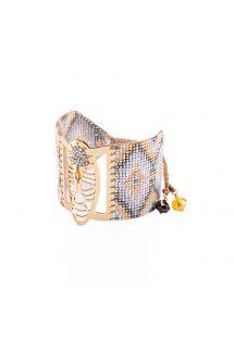 Grey/gold pearl geometric cuff - NATIVA GP 4102