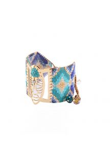 Blue geometric cuff made of beads and metal - NATIVA GP 4103