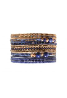 Large bracelet featuring deep blue and bronze coloured beads - POTPOURRI BIG BLUE COPPER