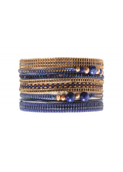 Brett armband med mörkblå och bronsfärgade trådar - POTPOURRI BIG BLUE COPPER