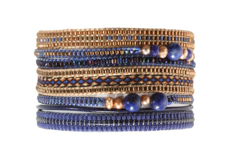 Large bracelet featuring deep blue and bronze coloured beads - POTPOURRI BIG BLUE COPPER