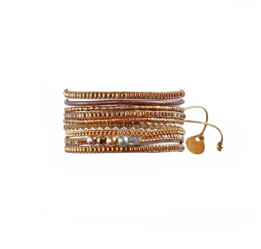 Brown/golden bead bracelet in different materials - Potpourri Fusion BE 1264