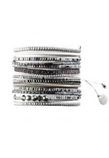 Manchette argentée en perles, cuir et chaîne - Potpourri Fusion BE 1267