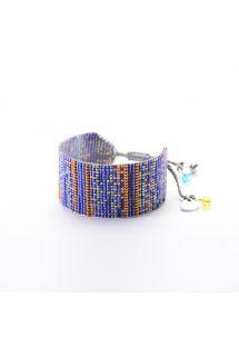 Brett, reglerbart armband av blå/kopparfärgade pärlor RAYS BE 3360