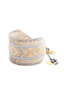 Grått/gyllene reglerbart armband av pärlor - Rays BE L 2712