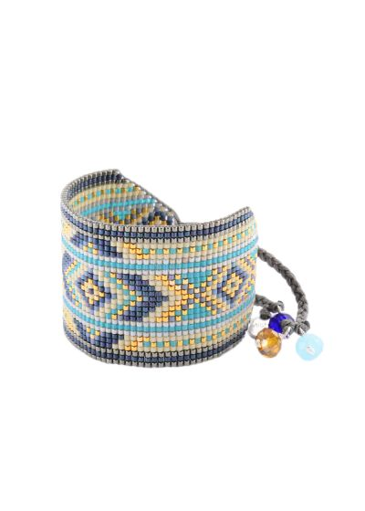 Wide blue/gold-coloured bracelet with geometric motif - Rays BE 2908