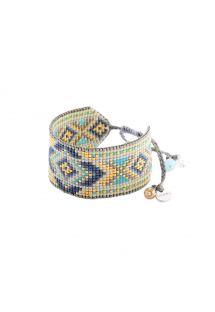 Blue bead cuff, geometric pattern - Rays BE 2908