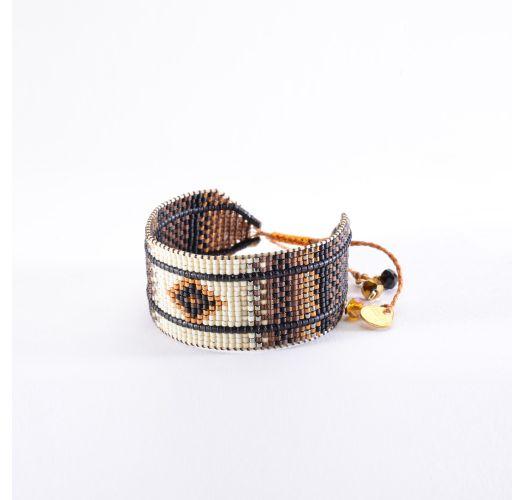 Etnisk armbånd med brune/beige perler RAYS LE 3327