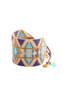 Etniskt manschettarmband av blå/gyllene pärlor - RAYS LE L 2112