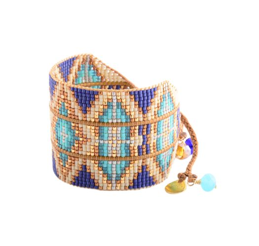 Ethnic style bracelet with blue/gold-coloured beads - RAYS LE 2112