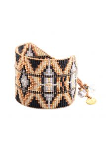 Black/golden-beaded ethnic cuff - RAYS LE 2113