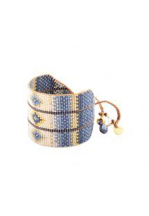 Manchette ethnique en perles bleues et beiges - RAYS LE 2890