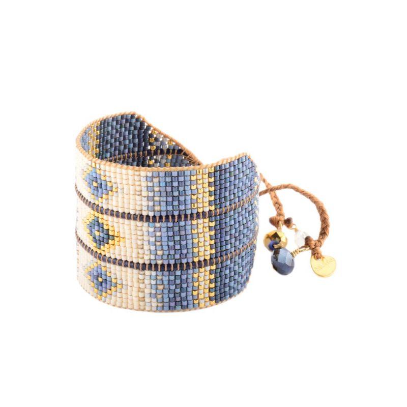 Etniskt manschettarmband av blå och beige pärlor - RAYS LE L 2890