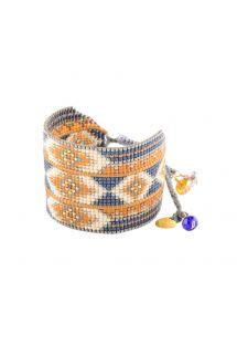 Manchette ethnique bleue/ocre/beige en perles - RAYS LE 2891L