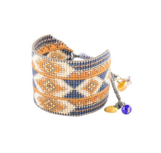 Blue/yellow/beige-beaded ethnic cuff - RAYS LE 2891L