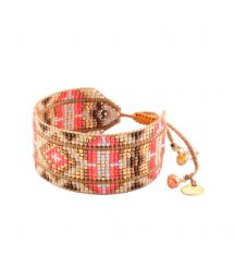 Coral and bronze bracelet with beads and leather - RAYS LE 2111