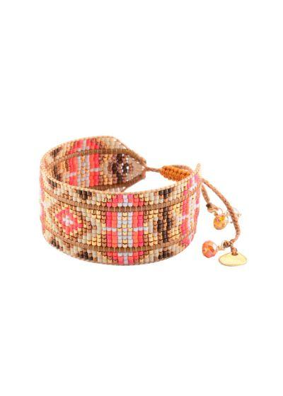 Armband i korallrött och guldbruntav pärlor och läder - RAYS LE M 2111