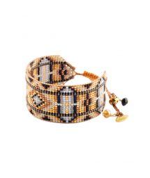 Pärla armband med läder, svart och bronsfärgat - RAYS LE M 2113